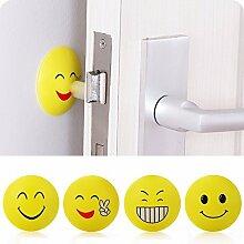 4PCS Lächeln Gesichter Gummi-Türknauf Auto-Wand-Schutz-Schutzpolster Doorknob Crashpad selbstklebende Wand-Türstopper Wache Stopper