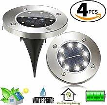 4pcs LED Solarleuchten,Solarleuchten Edelstahl,8