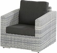 4Seasons Outdoor Edge living Sessel Loungesessel Polyrattan Ice inkl Kissen