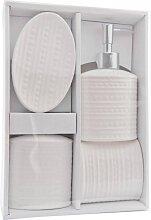4tlg Badezimmerset mit Seifenspender MUSTER weiß Keramik Clayre & Eef (19,95 EUR / Stück)