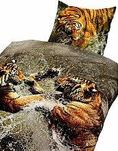 4Tlg Bettwäsche Baumwolle Tiger 3D