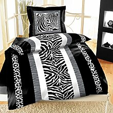 4Tlg Bettwäsche Milrofaser135x200 Zebra Schwarz