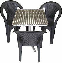 4tlg. Gartengarnitur Balkonmöbel Terrassenmöbel Set Sitzgruppe Stapelstuhl Aluminium Bistrotisch 60x60cm + 3x Stapelstuhl Bistromöbel Bistroset Gartenmöbel