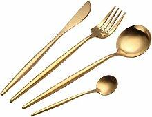 4tlg Geschirr Besteck Geschirr Set Goldbesteck