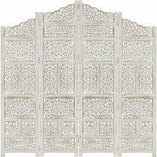4tlg. Raumteiler Handgeschnitzt Weiß 160×165cm