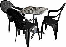 4tlg. Sitzgruppe Balkonmöbel Bistro Set Gartengarnitur Terrassenmöbel - Bistrotisch, 60x60cm, Aluminium + 3x Stapelstuhl, Rattan-Look, Kunststoff
