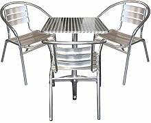 4tlg Terrassenmöbel Balkonmöbel Bistro Set 3x Aluminium Bistrostuhl Stapelstuhl + Bistrotisch Klapptisch 60x60cm Gartengarnitur Bistromöbel Sitzgruppe Sitzgarnitur Gartenmöbel