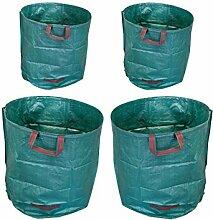 4x 270L Laubsack Gartensack Gewebetasche - Selbstaufstellend aus robustem Polyethylen