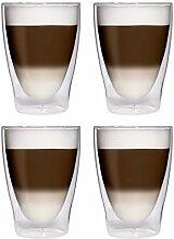4x 280ml XL doppelwandige Latte Macchiato-Gläser