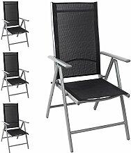 4x Aluminium Gartenstuhl Hochlehner, hochwertige Textilenbespannung, 8-fach verstellbar, klappbar, Silber/Schwarz - Liegestuhl Positionsstuhl Klappstuhl Terrassenmöbel Balkonmöbel Gartenmöbel