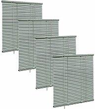 4x Aluminium Jalousie Plissee Rollo Klemmfix für Fenster und Türen 60x130cm Grau, VH5559gr-4