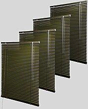 4x Aluminium Jalousie Plissee Rollo Klemmfix für Fenster und Türen 60x180cm Dunkelbraun Metallic, VH5404-4