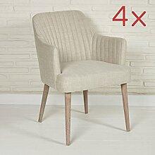 4x Designer Lounge Polstersessel Armlehnenstühle Esszimmerstühle für Wohnzimmer oder Esszimmer - Elegante Stoffsessel Stühle in beige mit Armlehnen