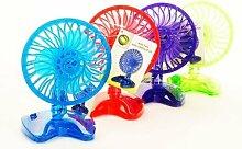 4x Discounter Ventilator 4 versch. Farben Design Höhe ca. 20cm Durchmesser ca. 15cm Kühler Raum-Lüfter Luft-Erfrischer Lüftung