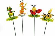 4x Gartenstecker Tiere auf Blatt Pflanzstecker Beetstecker Gartendeko sortier