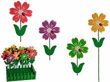 4x Holz Gartenstecker Blume Marienkäfer Pflanzstecker Beetstecker Gartendeko