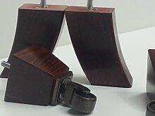 4x HOLZMÖBEL für BEINE / FÜSSE, MESSING ANTIK mit ROLLEN, SOFAS, STÜHLEN, SOFAS, M8 (8 mm)
