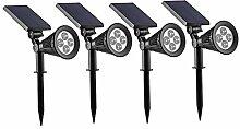 4x LED Solar Strahler Gartenleuchten Warmweiß