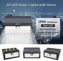 4x Led Solarleuchte, Aussenleuchte bewegungsmelder mit 45 superheller LEDs,aussenlampe bewegungsmelder für Gartendeko Garten Terrasse Balkon