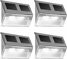 4x LED Solarleuchte Wandleuchte Edelstahl - Wegeleuchte Außenleuchte Lampe Leuchte Wandlampe Außenwandleuchte
