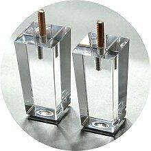 4x Möbelfüße 10cm Sofafuss Glas Sockelfuss