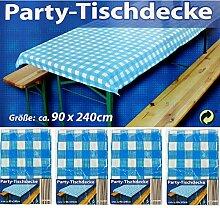 4x Party-Tischdecke Blau Weiß Bierzelt Garnitur