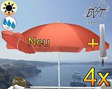 4x PREMIUM Sonnenschirm mit Hülle rot lachsrot orange / MEGA-XXL Gartenschirm, Marktschirm, 200 cm / Durchmesser 2,00 m EDEL mit Volant, 8-teilig / 8-eckig massiv, Bespannung mit 160 g / m² robust, Strandschirm,Sonnendach /Sonnenschutz Dach, XXL-Klappschirm, Gartenschirm extrem wetterfest, klappbar, tragbar, seewasserfest, hochwertig robust stabil, Sonnenschutz, stabiler Schirm Klappschirm Strandschirme, Sonnenschirme, Sonnenschirm-Tische