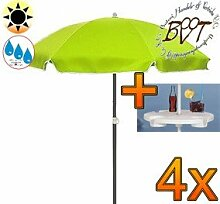 4x PREMIUM Sonnenschirm UV50+ mit Getränketisch apfelgrün / XXL Gartenschirm, Marktschirm, 180 cm / Durchmesser 1,80 m EDEL mit Volant, 8-teilig / 8-eckig massiv robust, Strandschirm,Sonnendach /Sonnenschutz Dach, XXL-Klappschirm, Gartenschirm extrem wetterfest, klappbar, tragbar, seewasserfest, hochwertig robust stabil, Sonnenschutz, stabiler Schirm Klappschirm, moosgrün, Strandschirme, Sonnenschirme, Sonnenschirm-Tische