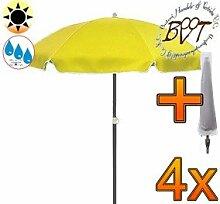 4x PREMIUM-Sonnenschirm UV50+ mit Hülle / XXL Gartenschirm, Marktschirm, 180 cm / Q 1,80 m EDEL mit Volant 8-eckig, Sonnendach Schirm, 8tlg. Strandschirm, gelb mit weiss, Strandschirm rund,Sonnendach /Sonnenschutz Dach, XXL-Klappschirm, Gartenschirm extrem wetterfest, klappbar, tragbar, seewasserfest, hochwertig robust stabil, Sonnenschutz, stabiler Schirm Klappschirm, Strandschirme, Sonnenschirme, Sonnenschirm-Tische