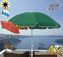 4x PREMIUM Sonnenschirm UV50+sonnendicht dunkelgrün / XXL Gartenschirm, Marktschirm, 180 cm / Durchmesser 1,80 m EDEL mit Volant, 8-teilig / 8-eckig massiv robust, Strandschirm,Sonnendach /Sonnenschutz Dach, XXL-Klappschirm, Gartenschirm extrem wetterfest, klappbar, tragbar, seewasserfest, hochwertig robust stabil, Sonnenschutz, stabiler Schirm Klappschirm, moosgrün, Strandschirme, Sonnenschirme, Sonnenschirm-Tische