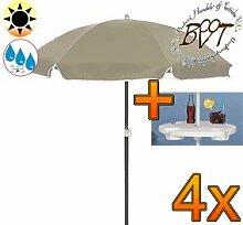 4x PREMIUM-Sonnenschirm UV50+sonnendicht mit Getränketisch / XXL Gartenschirm, Marktschirm, 180 cm / Q 1,80 m EDEL mit Volant 8-eckig, Sonnendach Schirm, 8tlg. Strandschirm, braun-taupe mit weiss, Strandschirm rund,Sonnendach /Sonnenschutz Dach, XXL-Klappschirm, Gartenschirm extrem wetterfest, klappbar, tragbar, seewasserfest, hochwertig robust stabil, Sonnenschutz, stabiler Schirm Klappschirm, Strandschirme, Sonnenschirme, Sonnenschirm-Tische