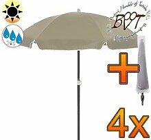 4x PREMIUM-Sonnenschirm UV50+sonnendicht mit Hülle / XXL Gartenschirm, Marktschirm, 180 cm / Q 1,80 m EDEL mit Volant 8-eckig, Sonnendach Schirm, 8tlg. Strandschirm, braun-taupe mit weiss, Strandschirm rund,Sonnendach /Sonnenschutz Dach, XXL-Klappschirm, Gartenschirm extrem wetterfest, klappbar, tragbar, seewasserfest, hochwertig robust stabil, Sonnenschutz, stabiler Schirm Klappschirm, Strandschirme, Sonnenschirme, Sonnenschirm-Tische