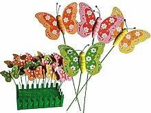 4x Set Holz Gartenstecker Schmetterling Pflanzstecker Beetstecker Gartendeko