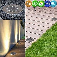 4x Solar Außen Spot Strahler Lampe Edelstahl