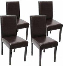 4x Stühle schwarz beschichtetes Leder Stuhl