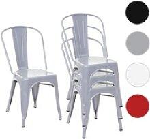4x Stuhl HWC-A73, Bistrostuhl Stapelstuhl, Metall