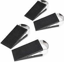 4x Türkeil im Set, Türstopper, Türpuffer, Sicherung für Tür und Fenster, Edelstahl, schwarz-silber, HBT ca. 3 x 5 x 12 cm