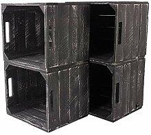 4X Vintage-Möbel 24 Neue graue Holzkiste Weiss
