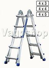 4x3 Aluminium Teleskopleiter Aluleiter Multifunktionsleiter Klappleiter Anlegeleiter