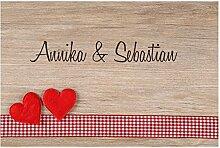 4you Design Fußmatte Herzen auf Holz mit Namen,