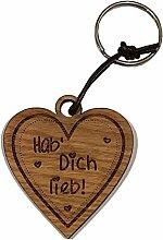 4you Design Holz Schlüsselanhänger Herz Hab Dich