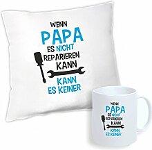 4you Design Set Kissen + Tasse Wenn Papa es Nicht