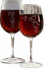 4you Design Weinglas Set Pärchen-Strichzeichnung,