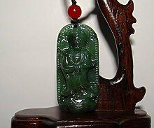 5,1cm China zertifiziert Nature Nephrit 925grün Jade stehend kwan-yin Statue Anhänger