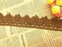 5.5 CM Breite Europa trimmen muster Inelastische Stickerei Spitzenbesatz, Vorhang Tischdecke Slipcover Braut Selbermachen-Kleidung/Zubehör (3,7 Meter in einem Paket) (kamelfarbig)