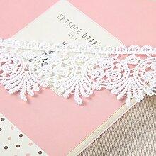 5.5 CM Breite Europa trimmen muster Inelastische Stickerei Spitzenbesatz, Vorhang Tischdecke Slipcover Braut Selbermachen-Kleidung/Zubehör (3,7 Meter in einem Paket) (weiß)