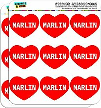 5cm (5,1cm) Scrapbooking, Aufkleber I love Herz Namen Stecker M Mac Marlin