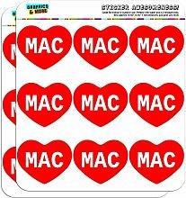 5cm (5,1cm) Scrapbooking, Aufkleber I love Herz Namen Stecker M Mac Mac