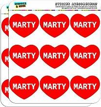 5cm (5,1cm) Scrapbooking, Aufkleber I love Herz Namen Stecker M Mac Marty