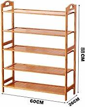 5 Fußböden Schuh-Rack Massivholz Einfache Lagerung Schrank Möbel Bambus Organizer Regale ( größe : 60 )